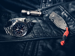All Black (Ch4nce) Tags: citizen nighthawk watch time knife crkt squid red spartan flashlight leather black