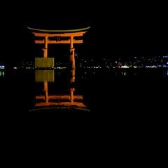 Itsukushima Torii in the sea at Miyajima (nkawai) Tags: japan japn iphone 6s photography   travel olloclip miyajima tori itsukushima sea night vermilion