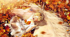 Pure souls (meriluu17) Tags: horse baby kid child autu fall leaves orange yellow outdoor lay soul souls friend friends people eye bebe badseed toddleedoo sun sunlight