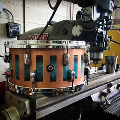 Happy Halloween!! Nothing too spooky (except for a giant milling machine)... 7X14 Copper Plate snare drum with some nice blue patina. If you happen to be in London next week, stop by @soundattakdrumco's booth at The London Drum Show to hear this beast! #q