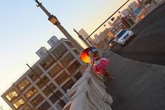 cown2 (OrangeCounty_Girl) Tags: carnival people halloween colors socks umbrella happy diy losangeles rainbow model funny colorful photoshoot circus lol clown dressup holly polkadots bow fu westhollywood payaso tutu bozo evilclown weho hollyclark