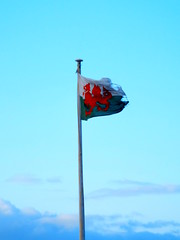 Flying The Flag (brainwavepictures) Tags: pictures sky cloud colour wales clouds fly flying dragon wind cloudy flag rip ripped pass wave windy pole torn horseshoe celtic welsh colourful celt llangollen tatty fluttering tattered flutter wrexham brainwave