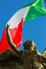 Flawless Victory (David Sumpton) Tags: blue red sky italy white rome green statue angel bronze italian flag weddingcake deep victoria victory della winged patria altare victories