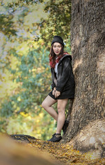 Autumn (Fevzi DINTAS) Tags: autumn portrait people cold cute girl beautiful hat weather fashion lady pose season asian thailand leaf pretty mood artistic modeling outdoor style human jacket paza140
