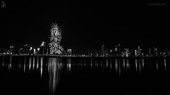 Year birth, 2014 (Sarath00Menon) Tags: city longexposure reflection monochrome skyline canon river dubai fireworks uae newyear burjkhalifa 5dmark3