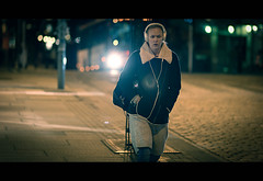On The Way home (Keepsaix) Tags: street portrait norway night lens photography prime nikon bokeh candid streetphotography bergen cinematic d800 135mdc