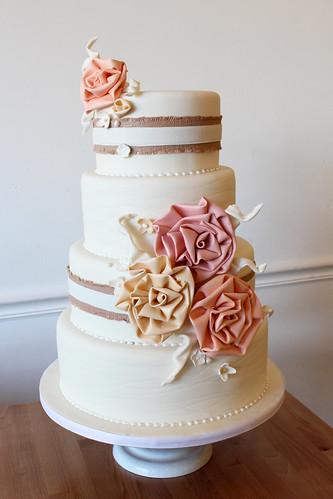 White Cake with Ruffle Flowers