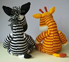 Gerry Giraffe and Ziggy Zebra (Knitting patterns by Amanda Berry) Tags: animals toy toys zoo knitting stripes safari knittingpattern zebra giraffe knits knitted amandaberry fluffandfuzz