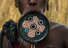 A mursi tribeswoman wearing a traditional lip-plate, Omo valley, Mago park, Ethiopia (Eric Lafforgue) Tags: africa portrait people woman color horizontal outdoors nationalpark women african culture tribal ornaments clay blackpeople omovalley extended ethiopia tribe disc bodyart mago bizarre mursi enlarged oneperson adornment hornofafrica ethiopian eastafrica abyssinia expanded onepersononly blackskin adornments onewomanonly loweromovalley tribeswoman 1people mursitribe indigenousculture africanculture lipplug ethnicgroup lipplate magopark liphole onematureadultonly enlargedearlobe enlargedear ethio162211