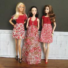 Dresses in red (Karine'S HCF (Handmade Clothing & Furniture)) Tags: red summer primavera scale spring dress handmade barbie poppy verano mano 16 largo vestido corto muecas hecho handknitted momoko