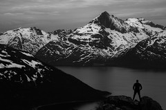Northern Norway (tryggstrand) Tags: travel sea sky people blackandwhite bw mountain snow man nature water norway landscape landscapes nikon flickr view north human 500px instagram