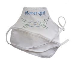 Flower Girl Rhinestone Apron (initial_impressions) Tags: embroidered personalized girlsapron rhinestoneembellished flowergirlapron whiteapronwithembroideryandrhinestones