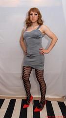 Silver dress 1 (eileen_cd) Tags: standing tv cd transvestite bandage crossdresser redheels silverdress patternedtights