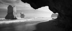 12 Apostles (+rex) Tags: ocean travel blackandwhite bw mist tourism beach landscape surf australia victoria panoramic handheld greatoceanroad 12apostles daytrip fujifilmx100 digitallystitched greatoceanrdbooringardprincetownvic3269