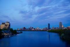 Blue Hour Over Charles River and Boston Skyline ((Jessica)) Tags: bridge sunset boston skyline river twilight newengland charles bluehour bu pw