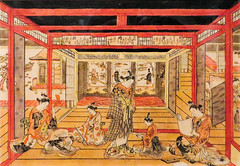 IMG_3070 (jaglazier) Tags: girls toronto ontario canada color men art japan gardens musicians architecture ink writing portraits buildings paper children japanese reading tokyo vanishingpoint clothing women interiors drawing crafts traditional perspective may printmaking prints kimono poems adults shamisen prostitutes inscriptions screens edo sexuality royalontariomuseum signatures woodblock lessons musicalinstruments ukiyoe brothels scrolls homosexuality polychrome 2016 polychromatic woodblockprints teahouses 5716 maleprostitutes okumuramasanobu copyright2016jamesaglazier athirdgenderbeautifulyouthsinjapaneseprints 1686ad1764ad 1743ad thethreeeveningpoems