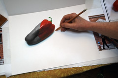 Red Bell Pepper - Composite Photograph (Geoffrey Coelho Photography) Tags: red food abstract art composite pencil work studio pepper sketch artist hand artistic drawing working sketching photograph colorized coloring draw selectivecolor colorize redbellpepper colorizing