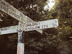 Challow station (1), 1982 (Blue-pelican-railway) Tags: station closed railway signpost berkshire pentax110 beeching challow