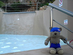 Shall I take the plunge? (pefkosmad) Tags: bear travel vacation holiday ted cute pool toy hotel vacances boat nice stuffed soft teddy hellas fluffy plush swimmingpool greece inflatable budgie trunks greekislands pefkos griechenland rhodes swimwear smugglers dodecanese finas swimcap pefki pefkoi tedricstudmuffin