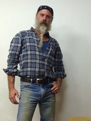 Many Shades of Blue (Cowboy Tommy) Tags: blue portrait hairy hot sexy daddy beard grey goatee cowboy manly wranglers whiskers jeans western denim redneck stache mustache tight bandana plaid package buckle rugged braid bulge bluecollar selfie hanky facefur