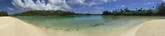 Rarotonga from Motutapu (knkppr) Tags: trees panorama sun mountains beach water clouds islands pacific pano south cook lagoon calm palm tropical lush muri