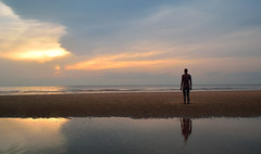 The Lone Man (Jason Riley Photography) Tags: reflection liverpool crosby anotherplace ironmen crosbybeach