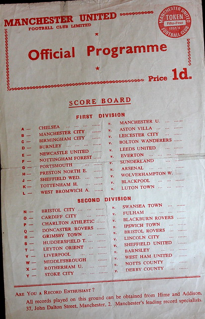Manchester United v Huddersfield Town Reserves (Token Intact) 26-04-58