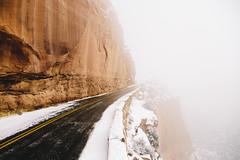 Road To Nowhere (LauraJayneAustin) Tags: road winter mist snow nature rock fog landscape colorado roadtrip canyon nike grandjunction 2014 coloradonationalmonument lauraaustin coloradonationmonument