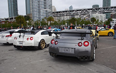 Nissan GT-R's (sumosloths) Tags: park bridge 2 two white bunny cars coffee yellow liberty gold grey bay pier is cafe wings san francisco nissan body walk jose wide wing battle f r huge modified rocket kit gt caffeine rims corvette spa 32 isf lexus spoiler gtr menlo croissants widebody tuned bodykit embarcadaro c7 gtrs sumosloths