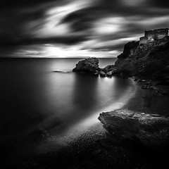 Coastline (ilias varelas) Tags: longexposure light sea sky blackandwhite bw seascape black water monochrome clouds reflections mono rocks mood shadows greece ilias ndfilter canonef1740mmf4l varelas canoneos6d