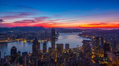 Dawn|Hong Kong (TommyYeung) Tags: city morning sky cloud sun sunrise hongkong dawn cityscape thepeak 香港 victoriaharbor 太平山 日出 黎明 維多利亞港 山頂 盧吉道 扯旗山
