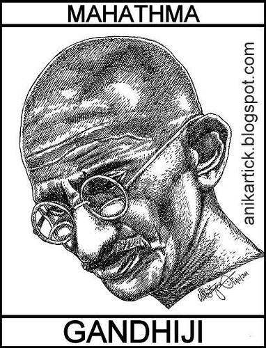 GANDHI / MAHATMA GANDHI / FATHER OF NATION / Portrait Sketch