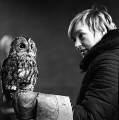 The Tawny Owl (Trojan_Llama) Tags: christmas street bw white black bird 120 film monochrome mediumformat display fair bronica owl and analogue anita sqa tawny wisbech foma fomapan zenzanon action400 150mmf4ps