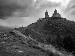 Gergeti (neolirik) Tags: blackandwhite bw mountains church georgia cross caucasus gergeti