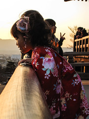 On this day in 2009 (Jean I Cresol) Tags: winter sunset red japan temple kyoto asia child dress january 4th dressedup kimono 2009