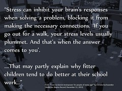 Educational Postcard about the role exercise plays in academic performance (Ken Whytock) Tags: school work children education exercise walk brain problem necessary stress solving better blocking levels answer connections plummet fitter tend responses inhibit