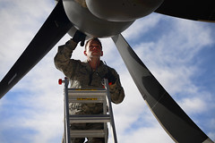 Checking the exhaust (Official U.S. Air Force) Tags: aircraft maintenance airforce airmen cannonafb