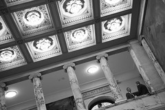 Matters Of Importance (peterkelly) Tags: bw usa men boston digital lights us unitedstates massachusetts unitedstatesofamerica pillar ceiling northamerica column discussion legislature oldcity bostonstatehouse nurseshall
