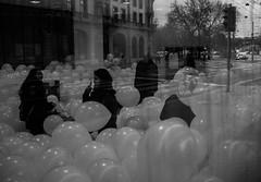 Blowing Bubbles... (II) (widmerstefan) Tags: street blackandwhite bw art balloons schweiz switzerland europa europe suisse noiretblanc streetphotography sw bern schwarzweiss berne transform bollwerk fujix100