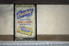 constant macaroni (Justin van Damme) Tags: old winter brown white snow building sign shop corner office store paint downtown winnipeg post mail quality trail signage polo macaroni constant
