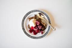 Heavenly brownie (junestarrr) Tags: food white cake finland baking eating chocolate whippedcream brownie raspberries flatlay