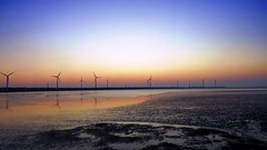 layers of sunset.. (hailin.elle) Tags: sunset sky water windmill landscape seaside asia sundown outdoor dusk taiwan windmills taichung  wetland  noclouds cloudlesssky gaomeiwetlands