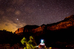 Capturing the Stars in Glass (wrgenec) Tags: park travel camping sky night stars outdoors evening utah lowlight desert hiking national zion