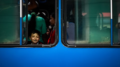green lips (Stephan Harmes) Tags: blue boy color bus fenster grn blau farbe junge lippen
