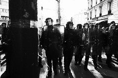 Untitled (nzkphotography) Tags: street people blackandwhite paris france monochrome europe day cops noiretblanc 28mm streetphotography police demonstration labour ricohgr labourday compact manifestation 2016 1ermai seriouscompacts