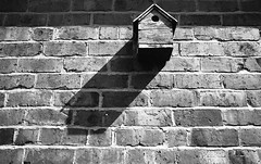 Birdhouse shadow (Man with Red Eyes) Tags: shadow monochrome analog zeiss blackwhite birdhouse rangefinder lancashire m6 leicam6 100iso homedeveloped adox silverhalide td201 silvermax anchelltroop a3minsb3mins continuousagitation distagont1435zm