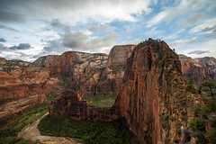 Up we go (Christopher.DG) Tags: travel summer sky panorama mountain mountains nature landscape outdoors utah ut view natural hiking canyon adventure explore valley mountaineering zion angelslanding zionnationalpark rugged ascent scrambling mountainrange mountainpanorama goexplore