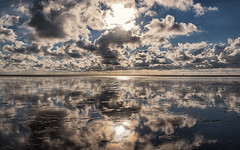 The sweep of the horizon (Stefan Sellmer) Tags: sun water clouds reflections germany de deutschland outdoor bluesky northsea schleswigholstein waddensea naturalreserve westerhever