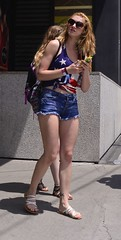 Red, White, Blue, Blonde and Bewildered (Ctuna8162) Tags: street summer chicago sandals sidewalk blonde shorts cutoffs jeansshorts