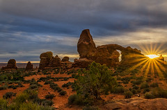 Turret Arch Sun Star (RichGreenePhotography.com) Tags: sunset sky clouds utah spring sandstone desert moab archesnationalpark nationalparkservice sunstar coloradoplateau edwardabbey richgreenephotography 100yearsofnationalparks